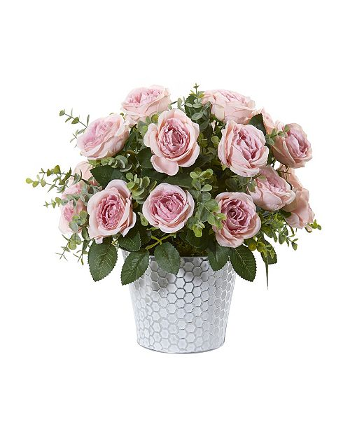 """Nearly Natural 16"""" Rose and Eucalyptus Artificial Arrangement in Tin Vase"""