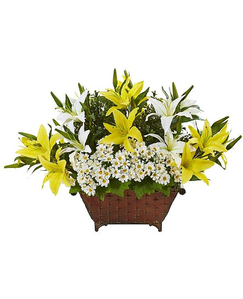 """Nearly Natural 20"""" Lilly and Daisy Artificial Arrangement in Metal Planter"""