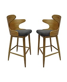 Karlin Mid Century Modern Barstools (Set of 2), Quick Ship