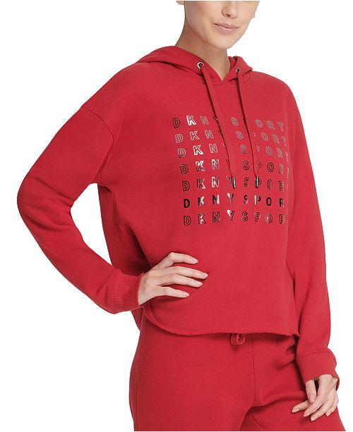 DKNY Sport Metallic-Logo Cropped Hoodie