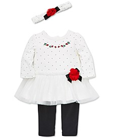 Baby Girls 3-Pc. Headband, Rosebud Dress & Pants Set