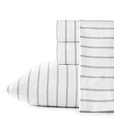 Trenton Stripe Cotton Percale Queen Sheet Set