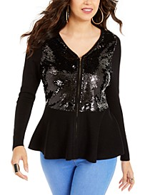 Zip Sequined Peplum Sweater, Created For Macy's