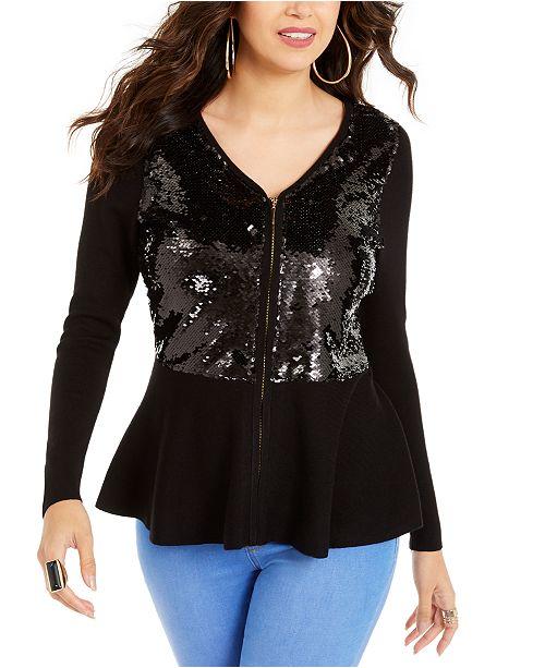 Thalia Sodi Zip Sequined Peplum Sweater, Created For Macy's