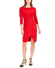 Petite Asymmetrical Ruched Sheath Dress