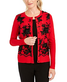 Petite Floral-Appliqué Mesh-Front Cardigan, Created For Macy's