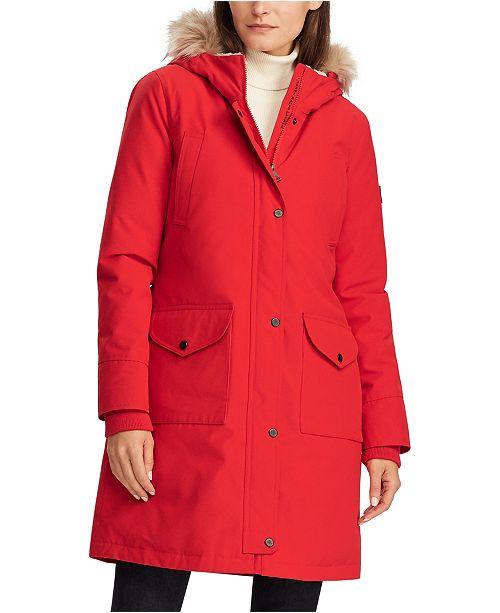 Lauren Ralph Lauren Faux-Fur Trim Hooded Down Coat