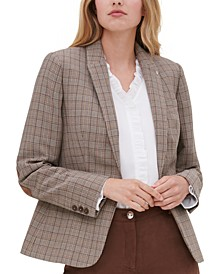 Plaid Single-Button Blazer