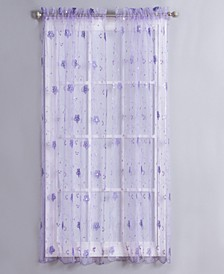 "Clarissa 40"" x 63"" Sequin Floral Sheer Curtain Panel"