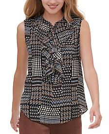 Tommy Hilfiger Printed Ruffled Blouse