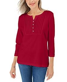 3/4-Sleeve Woven Bib Scoop Neck Top, Created for Macy's