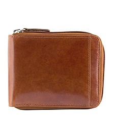 Casablanca Collection Men's RFID Secure Center Zippered Wallet with Removable Passcase