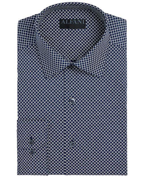 Alfani Alfani Men's Big & Tall AlfaTech Puzzle Print Dress Shirt, Created for Macy's