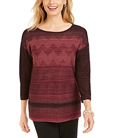 Metallic-Stitched Drop-Shoulder Sweater, Created for Macy's