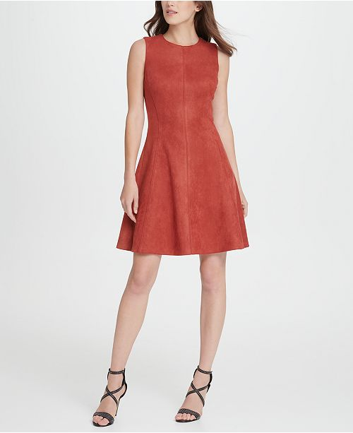 DKNY Suede Seamed Fit  Flare Dress