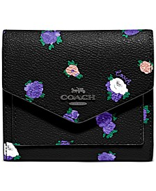 Rosebud Print Leather Small Wallet