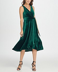 Velvet Double-V Wrap Midi Dress