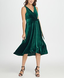 DKNY Velvet Double-V Wrap Midi Dress