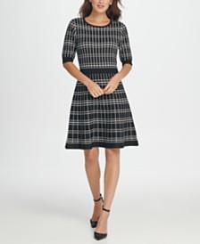 DKNY Windowpane Sweater Dress