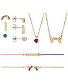 Gold-Tone Stud Earrings, Pendant Necklace & Bracelet 7-Pc. Rainbow Crystal Gift Calendar Set