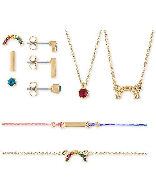 RACHEL Rachel Roy Gold-Tone Stud Earrings, Pendant Necklace & Bracelet 7-Pc. Rainbow Crystal Gift Calendar Set