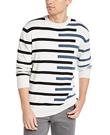 Men's Regular-Fit Asymmetrical Stripe Sweater