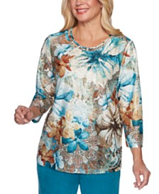 Alfred Dunner Walnut Grove Floral-Print Top