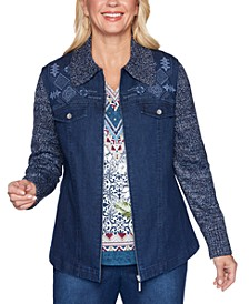 Petite Autumn Harvest Knit-Sleeve Denim Jacket