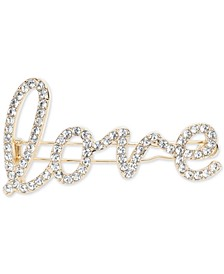 Gold-Tone Pavé Love Hair Barrette