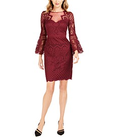 Lace Bell-Sleeve Sheath Dress