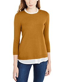 3/4-Sleeve Layered-Look Sweater, Created For Macy's