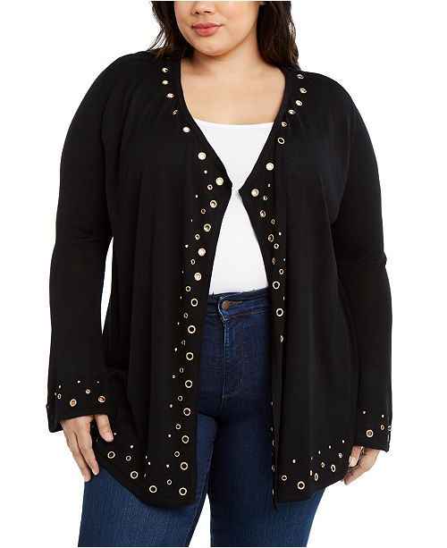 Belldini Plus Size Grommet-Trim Draped Cardigan