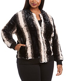 Plus Size Faux Fur Zip-Up Bomber Jacket
