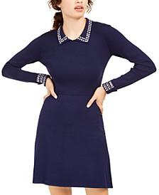 Juniors' Studded Sweater Dress