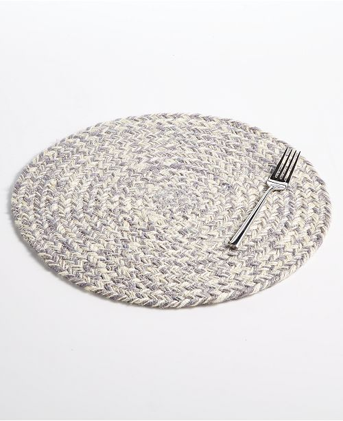 Lucky Brand Round Gray Chevron Placemat