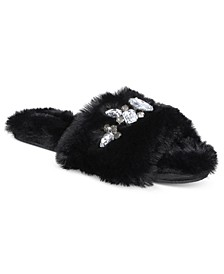 I.N.C. Women's Embellished Faux-Fur Slippers, Created For Macy's