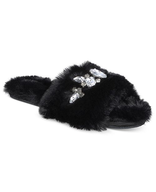 INC International Concepts I.N.C. Women's Embellished Faux-Fur Slippers, Created For Macy's