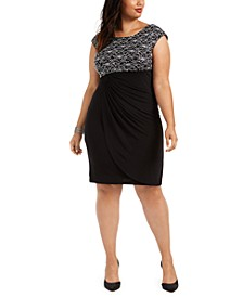 Plus Size Lace-Top Sheath Dress