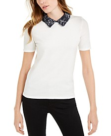 Tweed-Collar Short-Sleeve Sweater, Created For Macy's