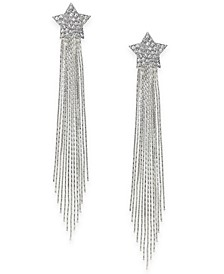 Silver-Tone Pavé Star Herringbone Linear Tassel Drop Earrings, Created For Macy's