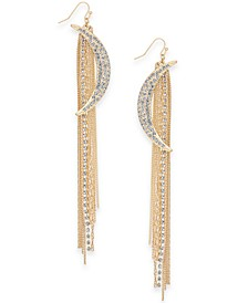 Gold-Tone Pavé Crystal Moon & Tassel Linear Earrings, Created For Macy's