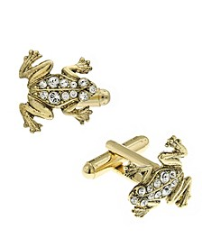 Jewelry 14K Gold Plated Crystal Frog Cufflinks