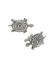 Jewelry Silver-Tone Turtle Cufflinks