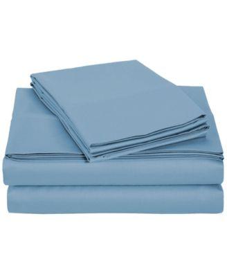 University 4 Piece Blue Solid Twin Xl Sheet Set