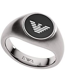 Emporio Men's Stainless Steel Logo Ring