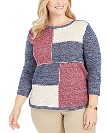 Plus Size Autumn Harvest Colorblocked Top