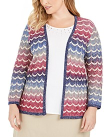 Plus Size Autumn Harvest Layered-Look Chevron Knit Top