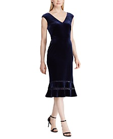 Lauren Ralph Lauren Inset-Lace Velvet Dress