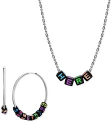 """Silver-Tone Interchangeable Lettering Bead Collar Necklace & Hoop Earring Gift Set, 16"""" + 3"""" extender"""