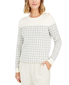 Petite Houndstooth Button-Shoulder Sweater, Created for Macy's